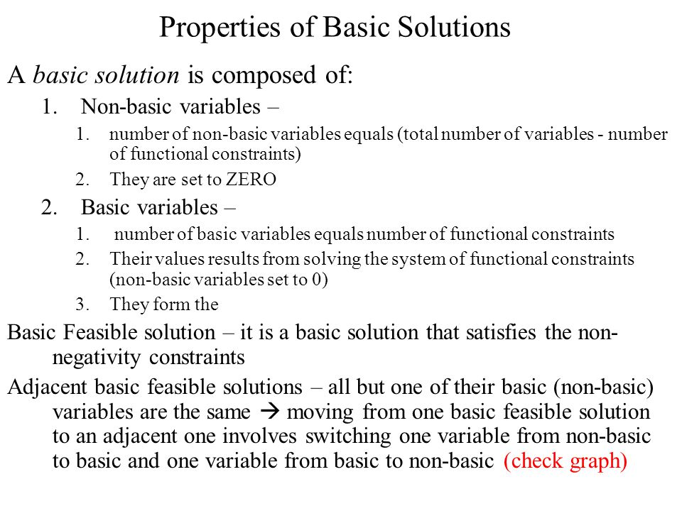Properties of Basic Solutions A basic solution is composed of: 1.Non-basic variables – 1.number of non-basic variables equals (total number of variables - number of functional constraints) 2.They are set to ZERO 2.Basic variables – 1.