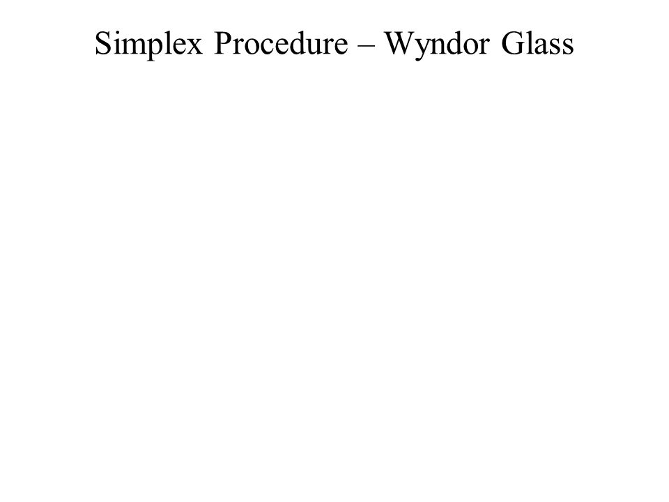 Simplex Procedure – Wyndor Glass
