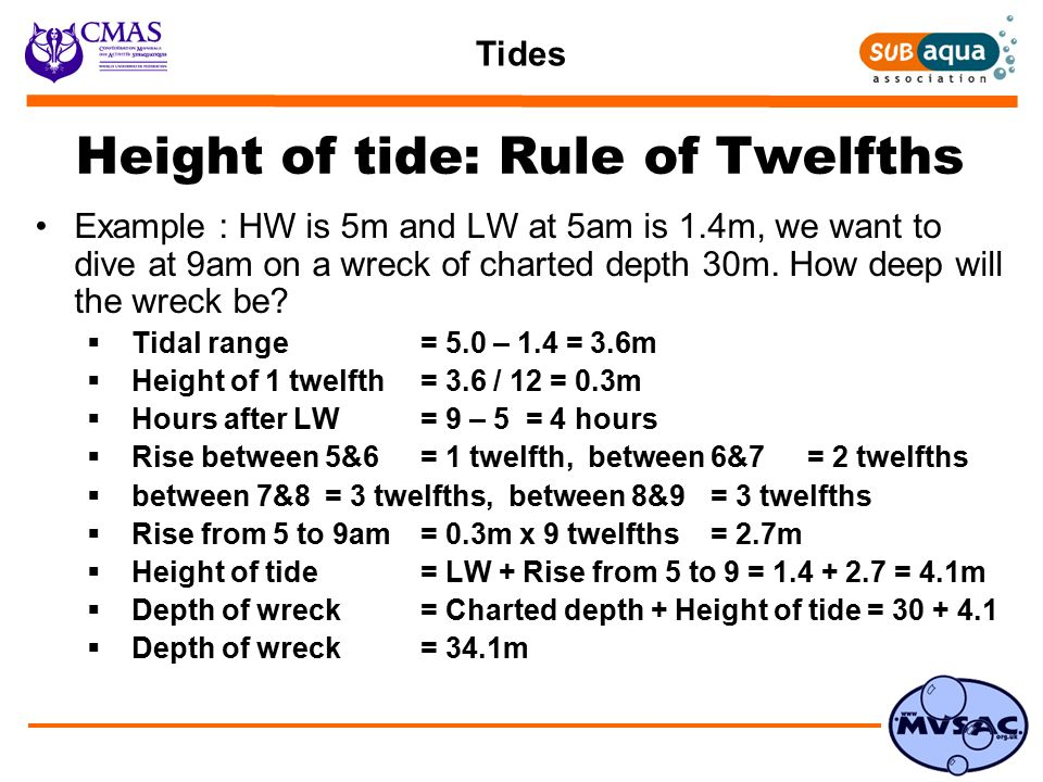 Tides Height of tide: Rule of Twelfths Example : HW is 5m and LW at 5am is 1.4m, we want to dive at 9am on a wreck of charted depth 30m.