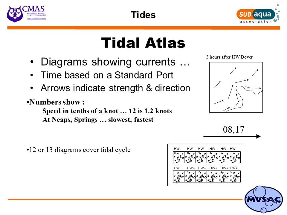 Tides Tidal Atlas Diagrams showing currents … Time based on a Standard Port Arrows indicate strength & direction 08,17 3 hours after HW Dover Numbers show : Speed in tenths of a knot … 12 is 1.2 knots At Neaps, Springs … slowest, fastest 12 or 13 diagrams cover tidal cycle HW- 6 HW- 5 HW- 4 HW- 3 HW- 2 HW- 1 HWHW+ 1 HW+ 2 HW+ 3 HW+ 4 HW+ 5