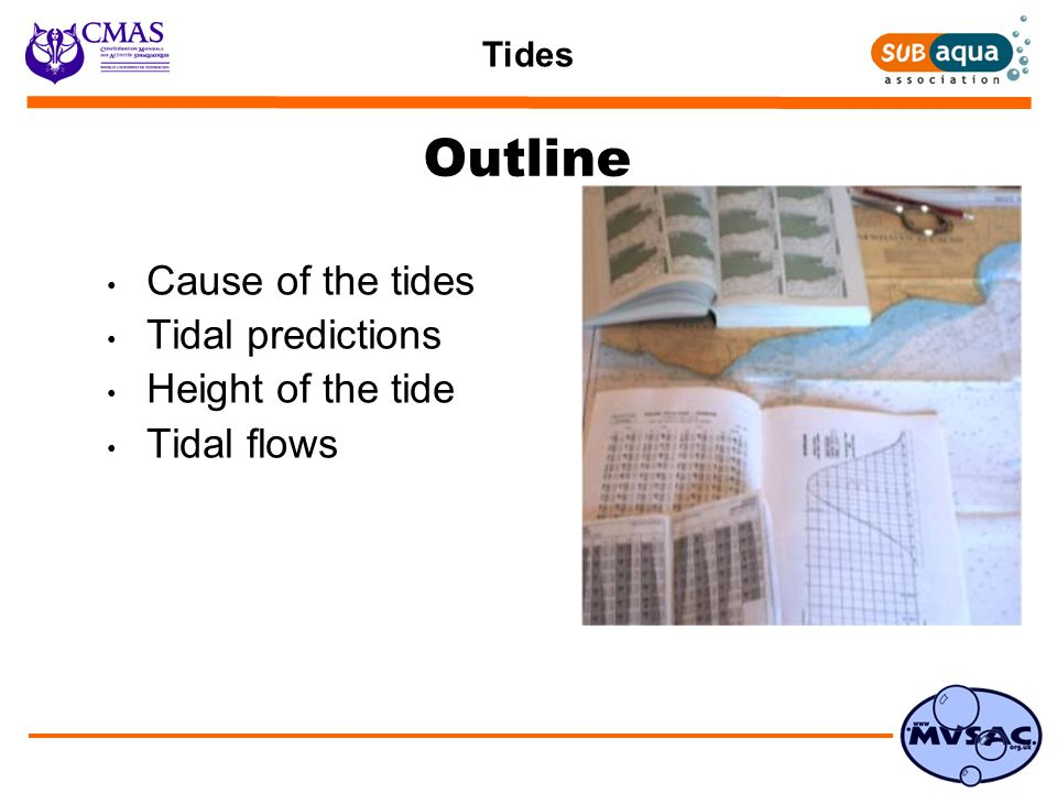 Tides Tides and Depth of Water Chart Datum …  Lowest spring tide in average weather conditions  Charted depth, High and Low Water measured from Chart Datum Depth of water = height of the tide + charted depth Importance of Depth of Water …  Depth of water at dive site  Usability and safety of harbours and slips
