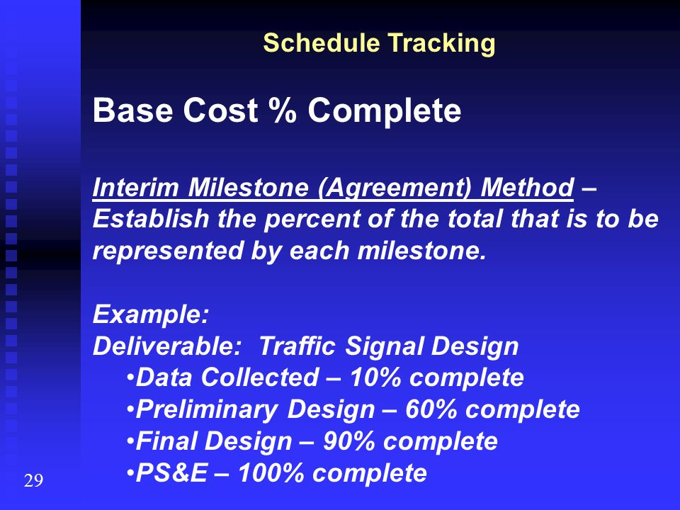 Schedule Tracking Base Cost % Complete Interim Milestone (Agreement) Method – Establish the percent of the total that is to be represented by each mil