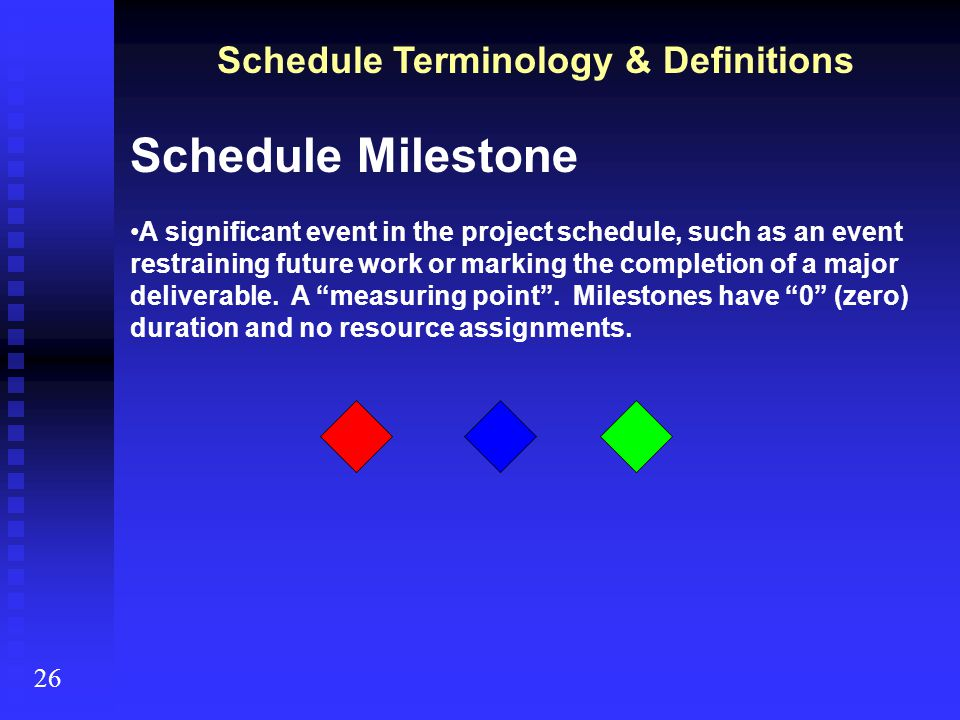 Schedule Terminology & Definitions 26 Logical Relationships A dependency between scheduled activities, or between a scheduled activity and a schedule milestone.