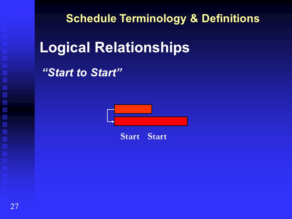Schedule Terminology & Definitions 27 Logical Relationships Start to Finish (very rare, not available in WSDOT project management software) Finish Start