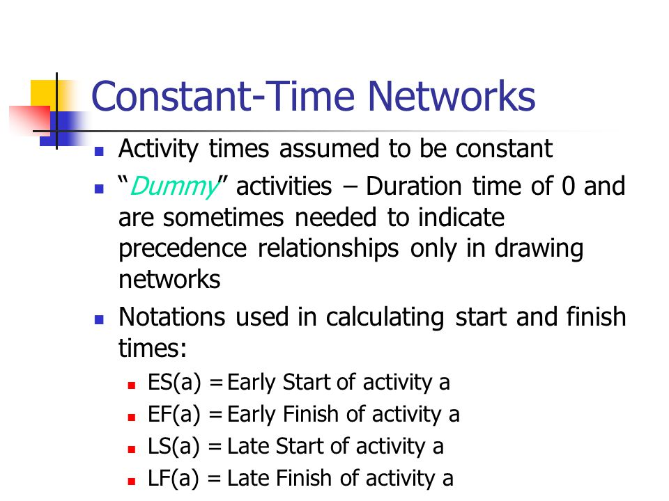 Constant-Time Networks Activity times assumed to be constant Dummy activities – Duration time of 0 and are sometimes needed to indicate precedence relationships only in drawing networks Notations used in calculating start and finish times: ES(a) =Early Start of activity a EF(a) =Early Finish of activity a LS(a) =Late Start of activity a LF(a) =Late Finish of activity a