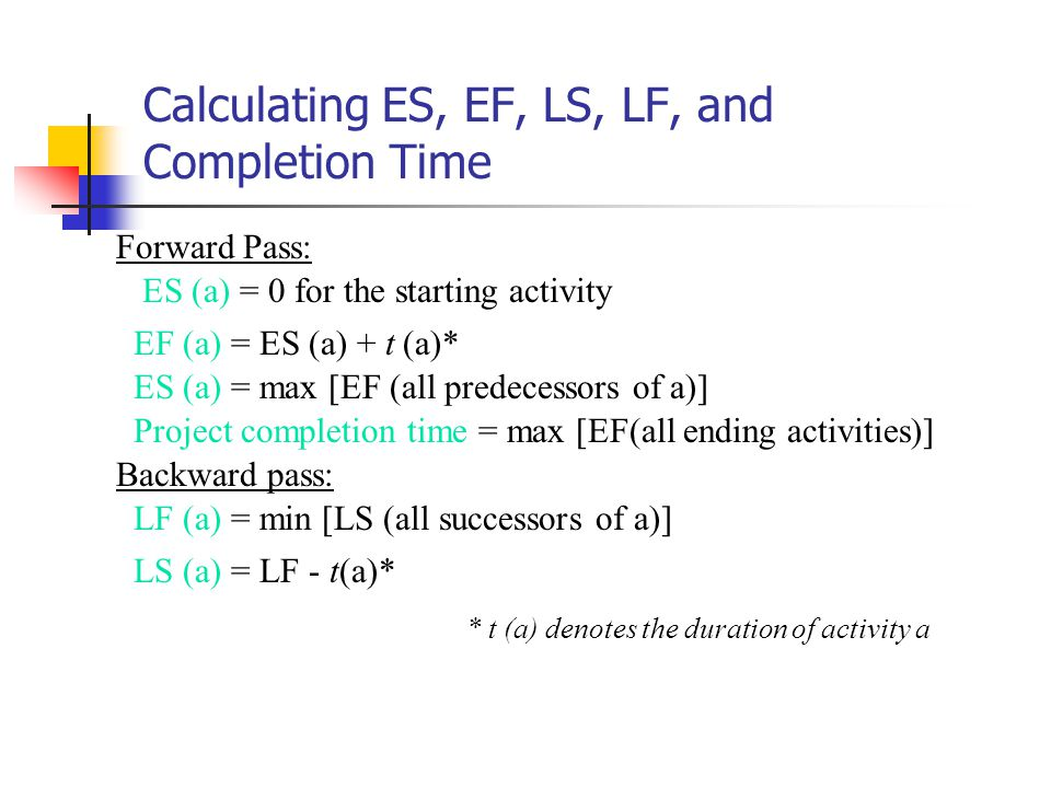 Calculating ES, EF, LS, LF, and Completion Time ES (a) = 0 for the starting activity EF (a) = ES (a) + t (a)* ES (a) = max [EF (all predecessors of a)] Project completion time = max [EF(all ending activities)] * t (a) denotes the duration of activity a LF (a) = min [LS (all successors of a)] LS (a) = LF - t(a)* Forward Pass: Backward pass: