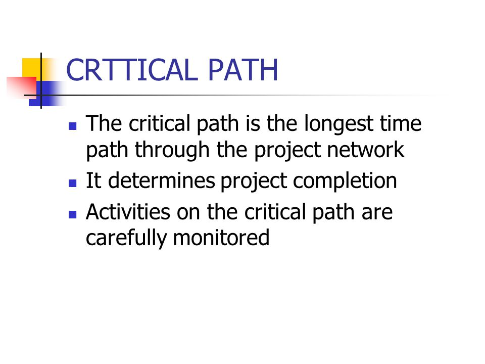 CRTTICAL PATH The critical path is the longest time path through the project network It determines project completion Activities on the critical path are carefully monitored