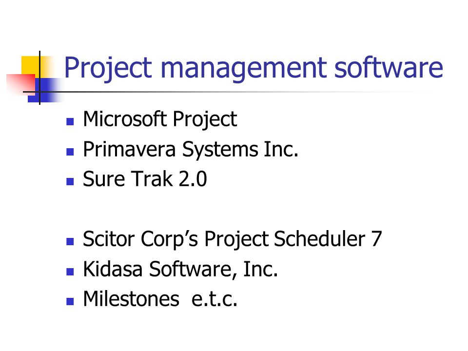 Microsoft Project Primavera Systems Inc.