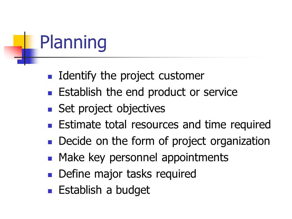 Planning Identify the project customer Establish the end product or service Set project objectives Estimate total resources and time required Decide on the form of project organization Make key personnel appointments Define major tasks required Establish a budget
