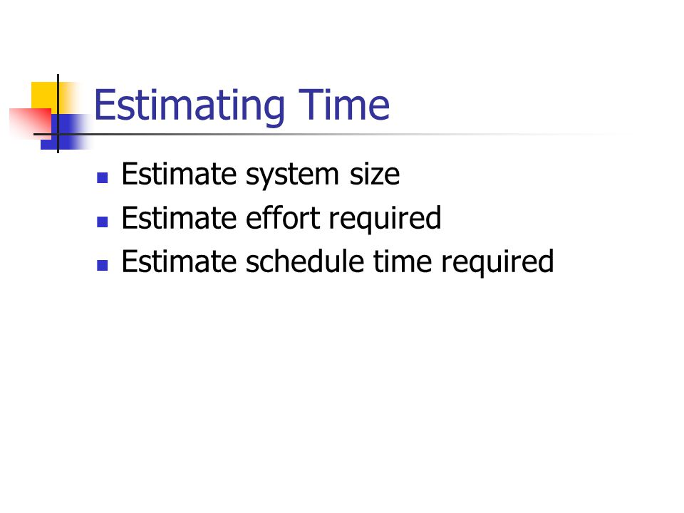 Estimating Time Estimate system size Estimate effort required Estimate schedule time required
