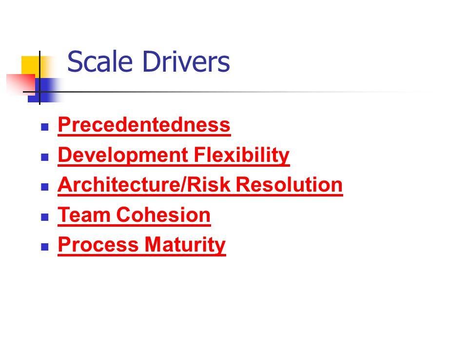 Scale Drivers Precedentedness Development Flexibility Architecture/Risk Resolution Team Cohesion Process Maturity