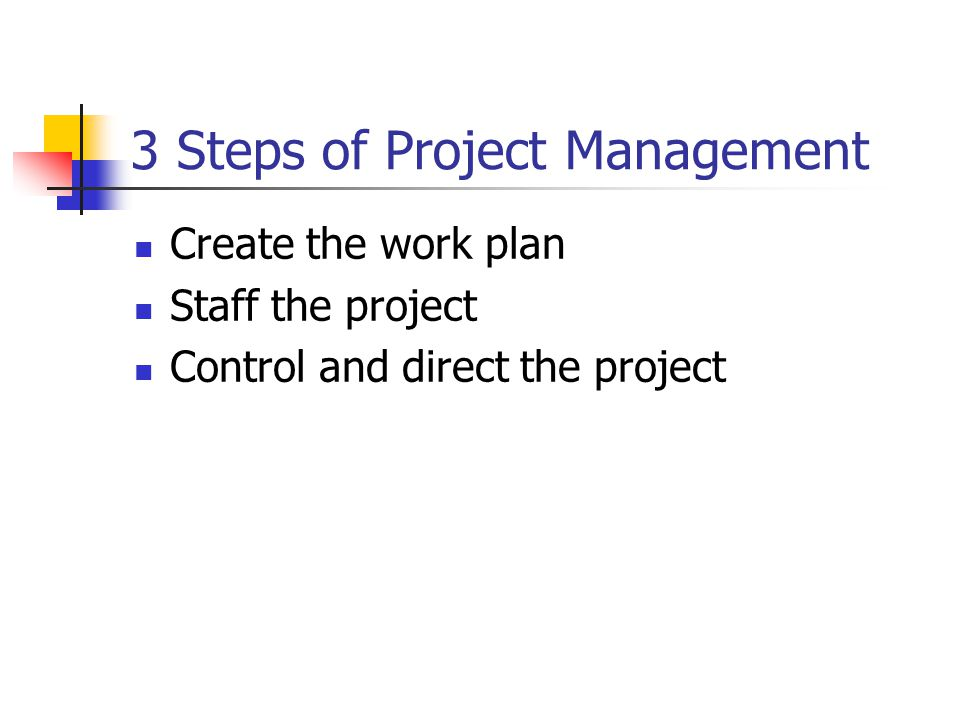 3 Steps of Project Management Create the work plan Staff the project Control and direct the project