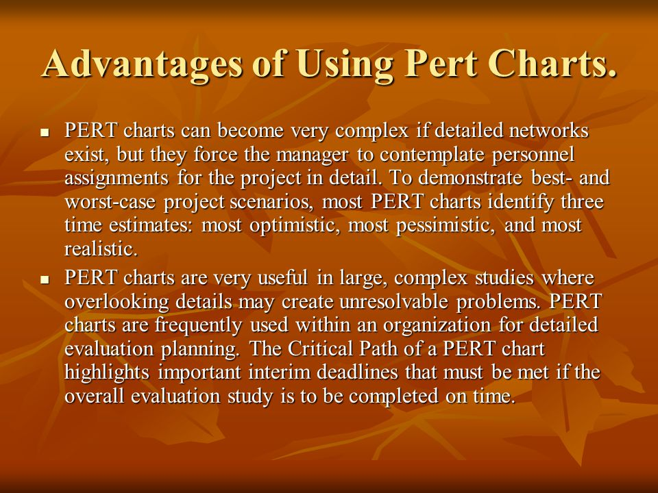 PERT strengths The PERT network is continuously useful to project managers prior to and during a project.