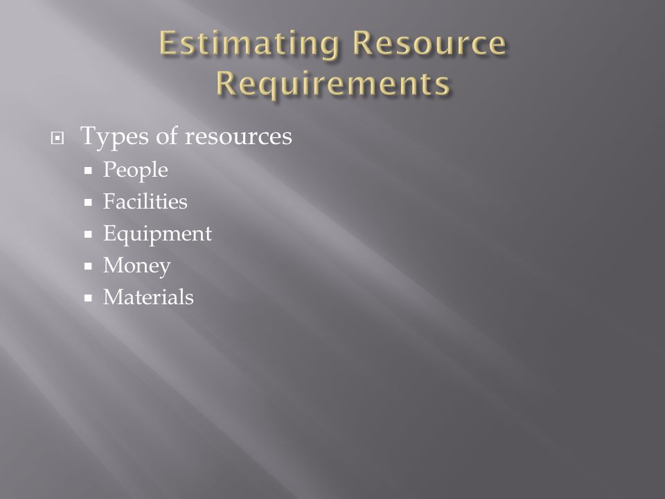  Types of resources  People  Facilities  Equipment  Money  Materials