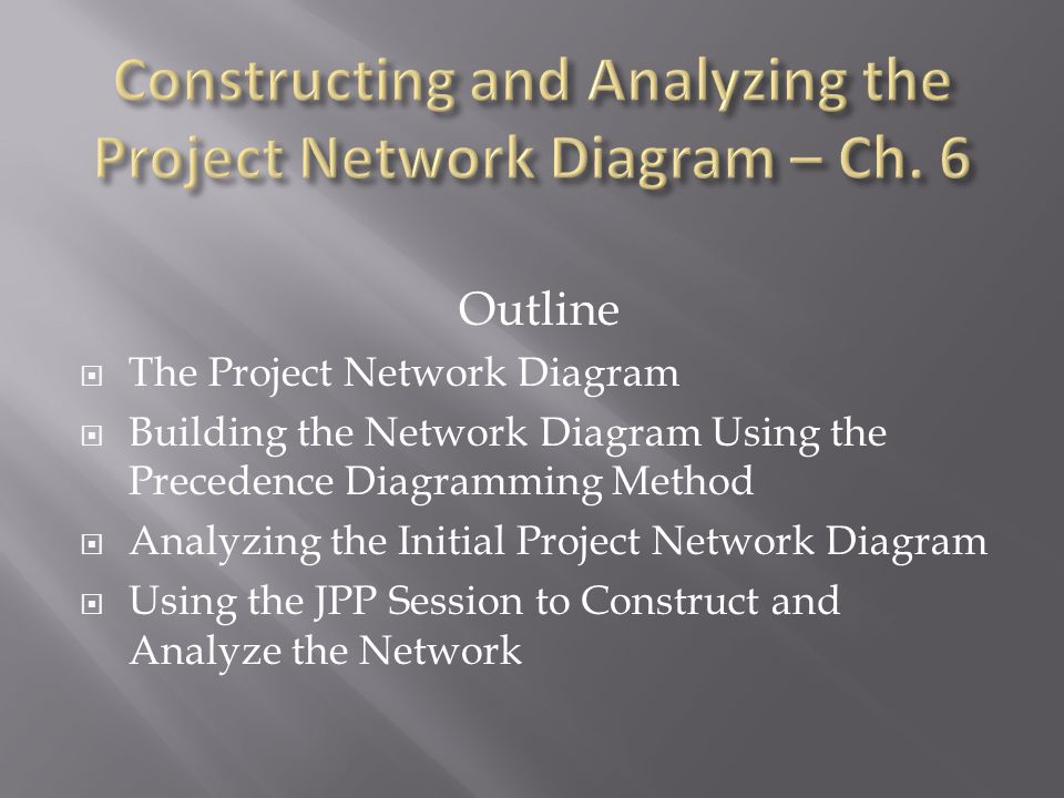 Outline  The Project Network Diagram  Building the Network Diagram Using the Precedence Diagramming Method  Analyzing the Initial Project Network Diagram  Using the JPP Session to Construct and Analyze the Network