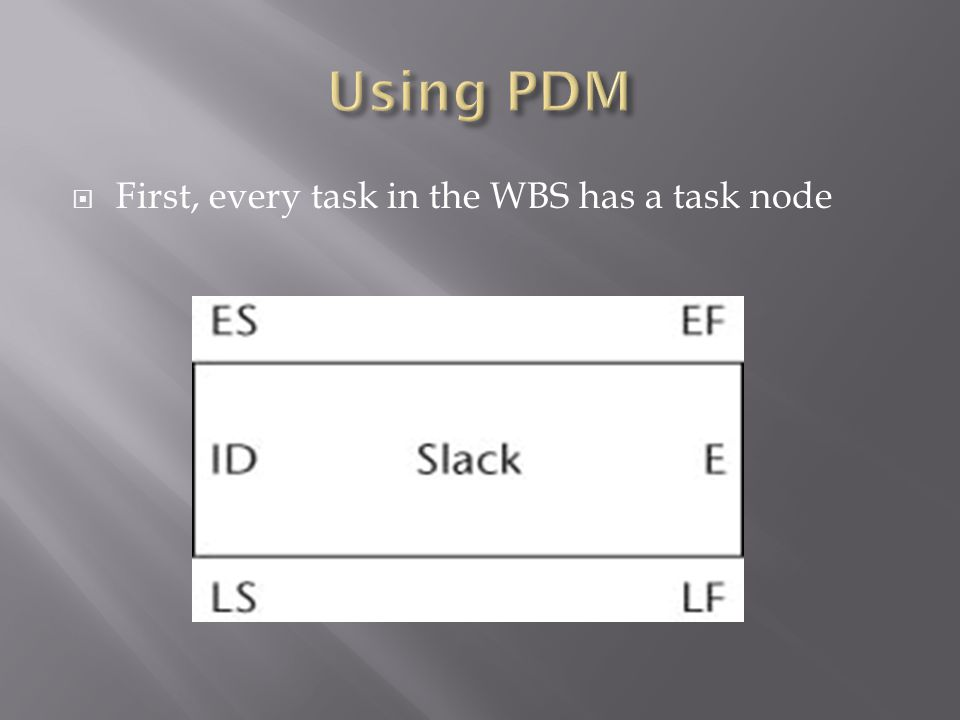  First, every task in the WBS has a task node
