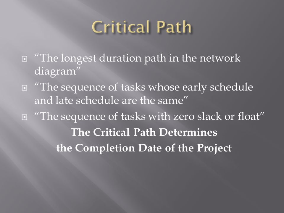  The longest duration path in the network diagram  The sequence of tasks whose early schedule and late schedule are the same  The sequence of tasks with zero slack or float The Critical Path Determines the Completion Date of the Project