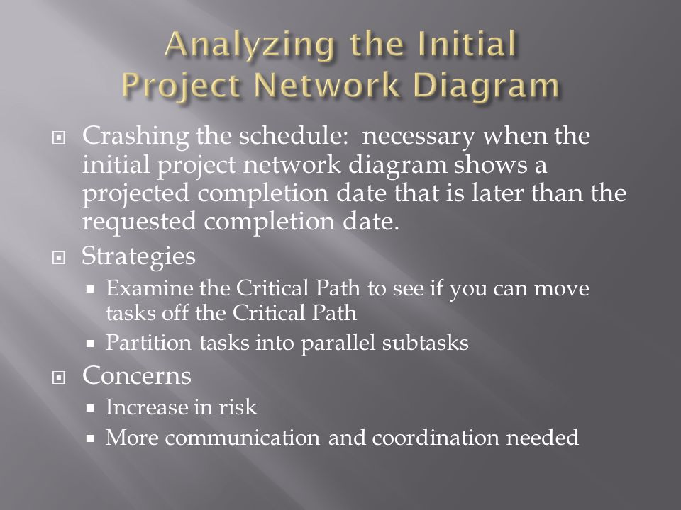  Crashing the schedule: necessary when the initial project network diagram shows a projected completion date that is later than the requested completion date.