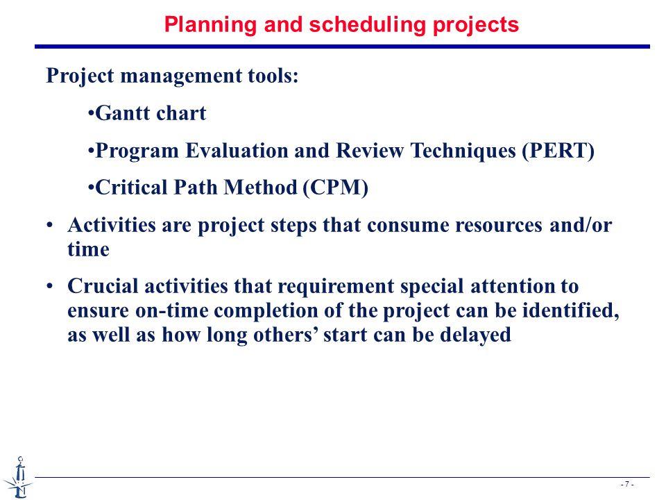 - 28 - PERT : probabilistic approach Réfléchir sur une méthode par simulation pour l'estimation de la probabilité de terminer un projet avant une date donnée.