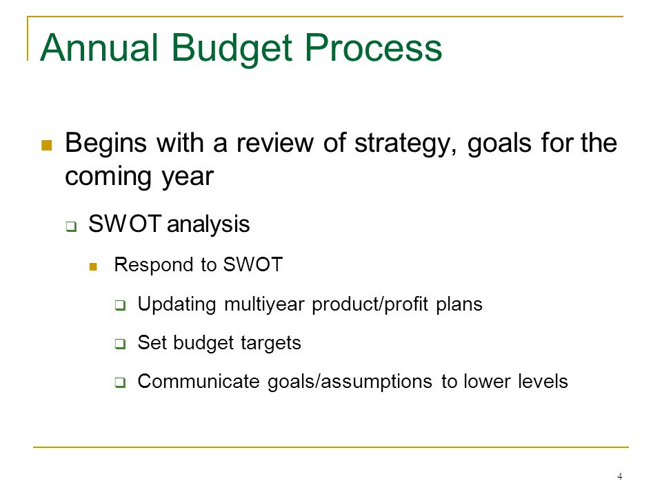 4 Annual Budget Process Begins with a review of strategy, goals for the coming year  SWOT analysis Respond to SWOT  Updating multiyear product/profit plans  Set budget targets  Communicate goals/assumptions to lower levels