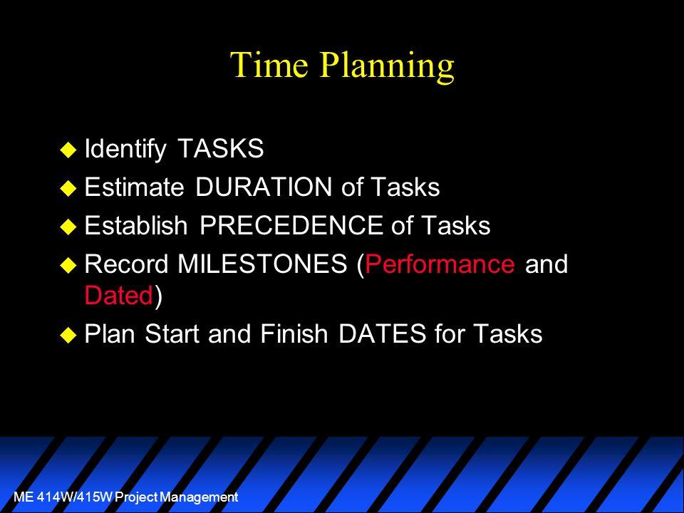 ME 414W/415W Project Management Time Planning u Identify TASKS u Estimate DURATION of Tasks u Establish PRECEDENCE of Tasks u Record MILESTONES (Performance and Dated) u Plan Start and Finish DATES for Tasks