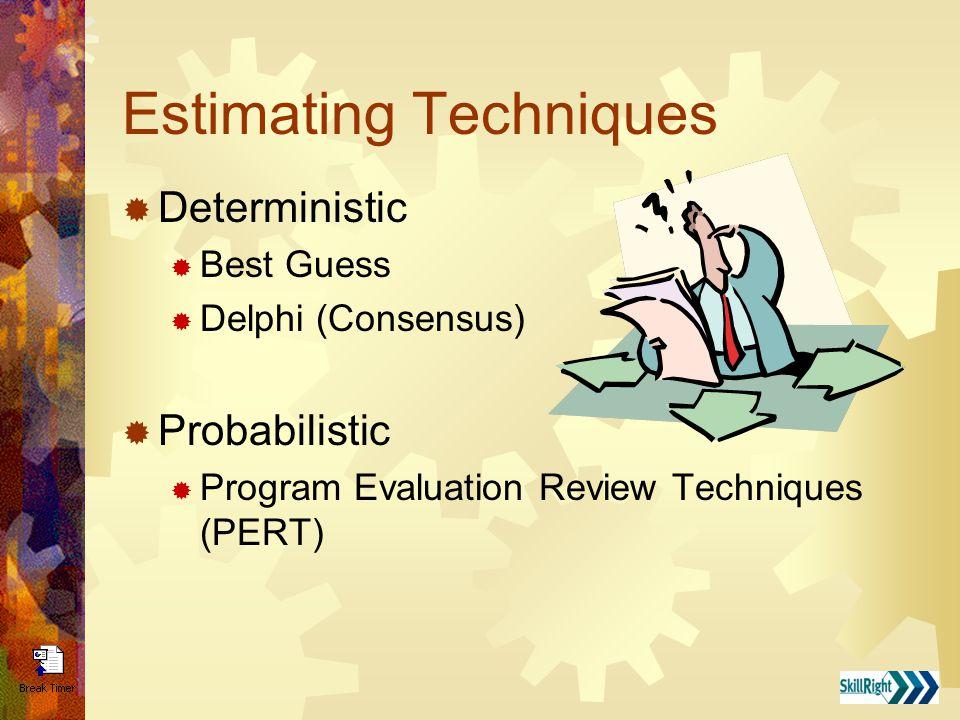 Estimating Techniques  Deterministic  Best Guess  Delphi (Consensus)  Probabilistic  Program Evaluation Review Techniques (PERT)