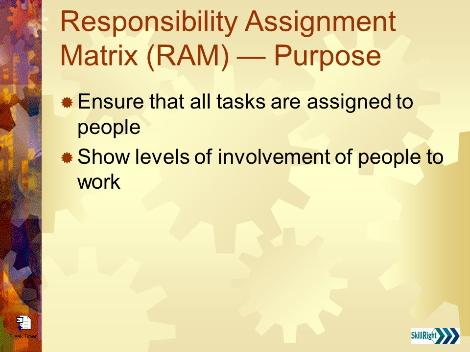 Responsibility Assignment Matrix (RAM) — Purpose  Ensure that all tasks are assigned to people  Show levels of involvement of people to work