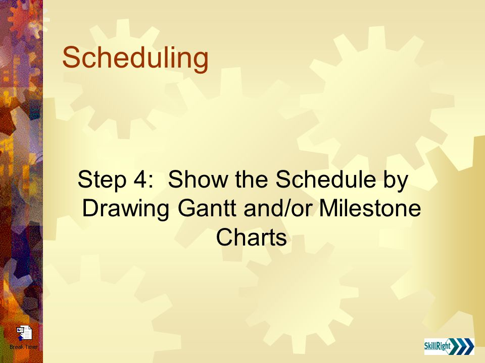 Scheduling Step 4: Show the Schedule by Drawing Gantt and/or Milestone Charts