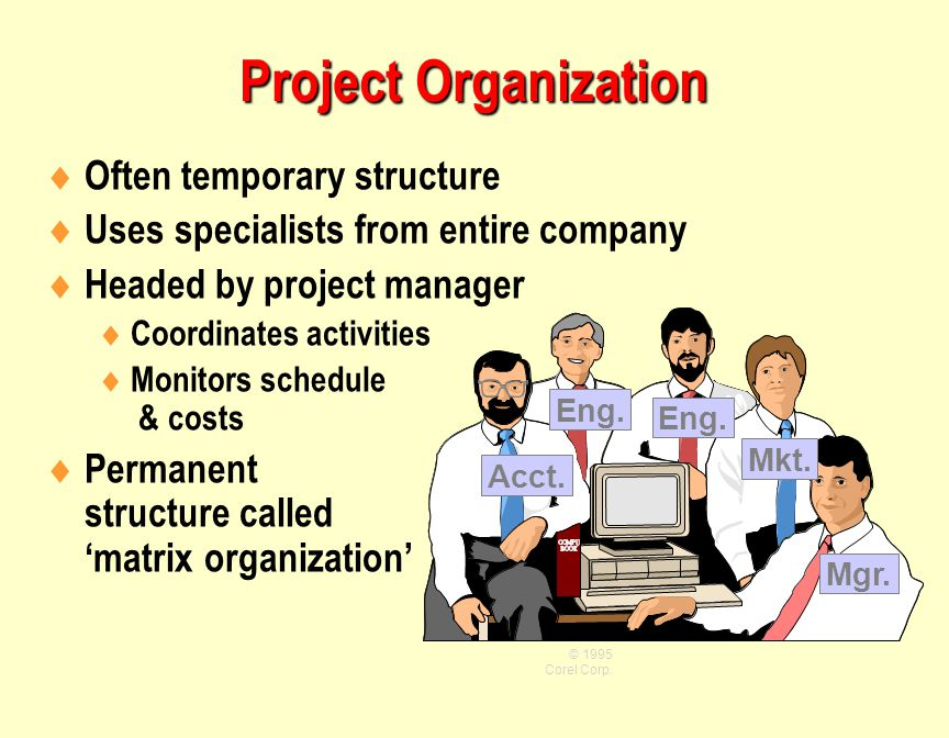  Often temporary structure  Uses specialists from entire company  Headed by project manager  Coordinates activities  Monitors schedule & costs  Permanent structure called 'matrix organization' © 1995 Corel Corp.