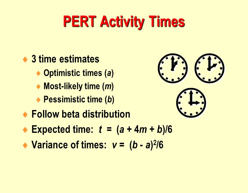  3 time estimates  Optimistic times ( a )  Most-likely time ( m )  Pessimistic time ( b )  Follow beta distribution  Expected time: t = ( a + 4 m + b )/6  Variance of times: v = ( b - a ) 2 /6   PERT Activity Times