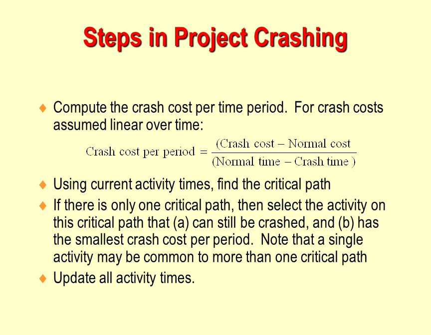 Steps in Project Crashing  Compute the crash cost per time period.