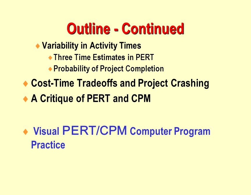 Outline - Continued  Variability in Activity Times  Three Time Estimates in PERT  Probability of Project Completion  Cost-Time Tradeoffs and Project Crashing  A Critique of PERT and CPM  Visual PERT/CPM Computer Program Practice
