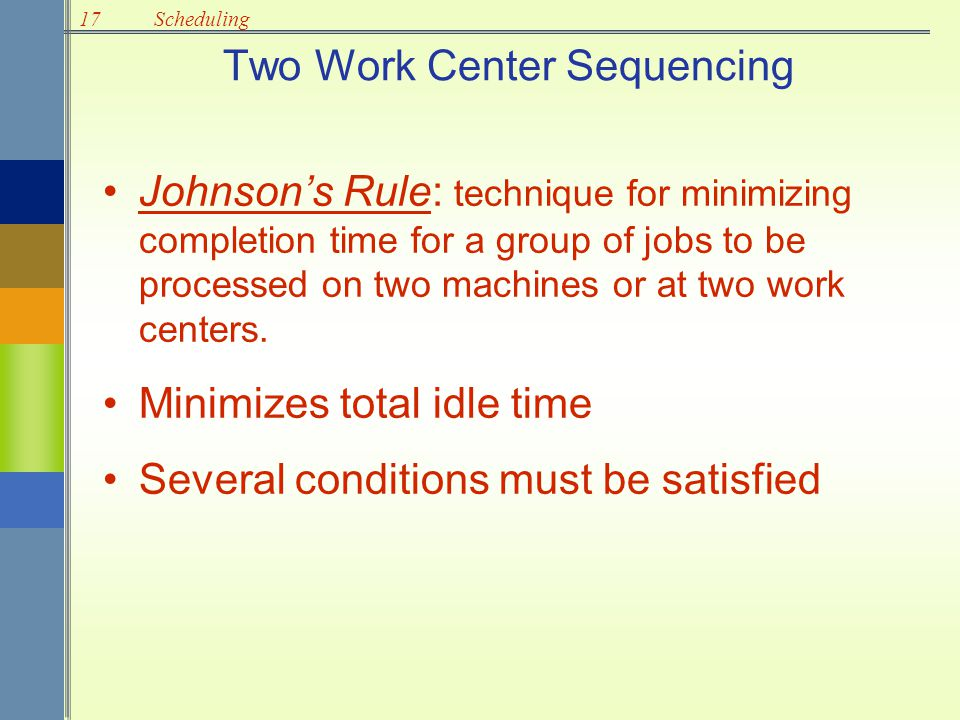 17Scheduling Two Work Center Sequencing Johnson's Rule: technique for minimizing completion time for a group of jobs to be processed on two machines o