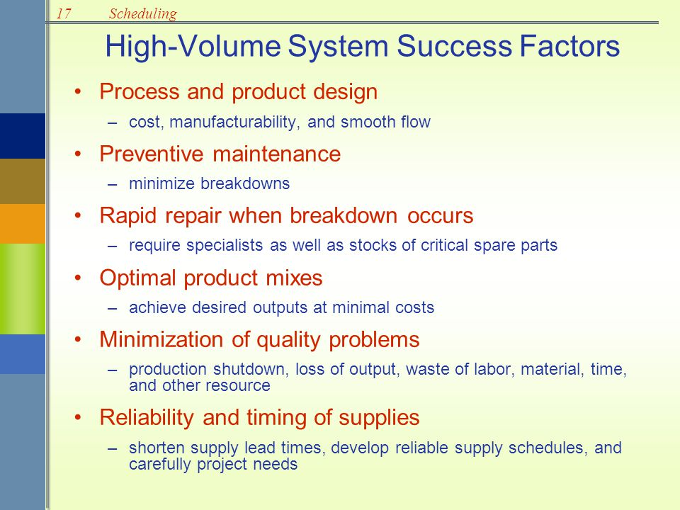 17Scheduling Intermediate-Volume Systems Outputs are between standardized high- volume systems and made-to-order job shops.