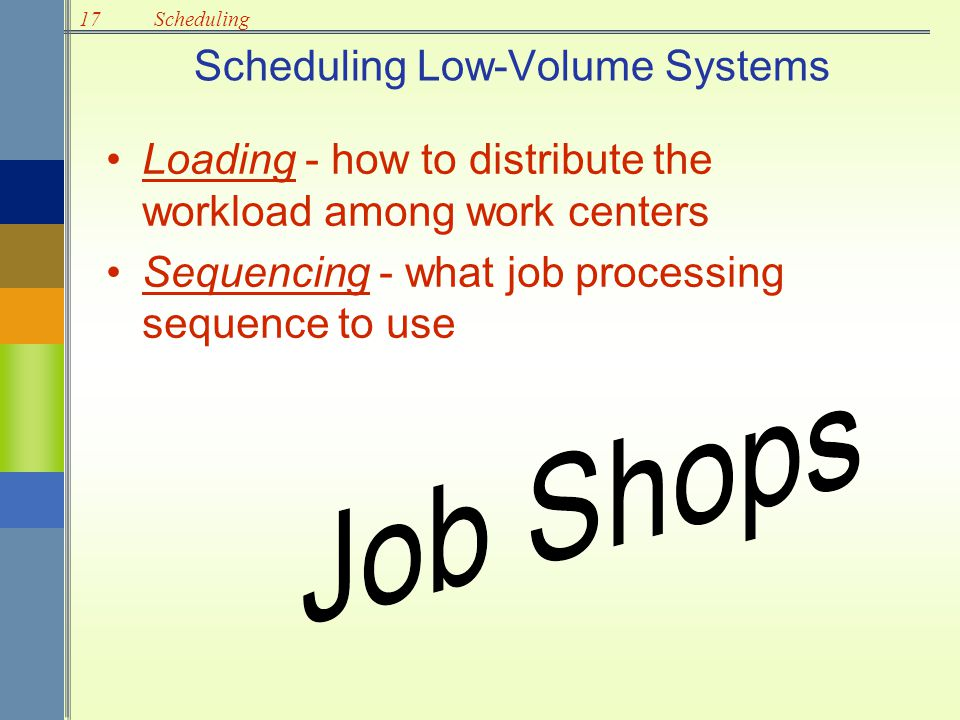 17Scheduling Service Operation Problems Cannot store or inventory services Customer service requests are random Scheduling service involves –Customers –Workforce –Equipment