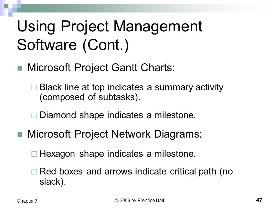 © 2008 by Prentice Hall 47 Chapter 3 Using Project Management Software (Cont.) Microsoft Project Gantt Charts:  Black line at top indicates a summary activity (composed of subtasks).