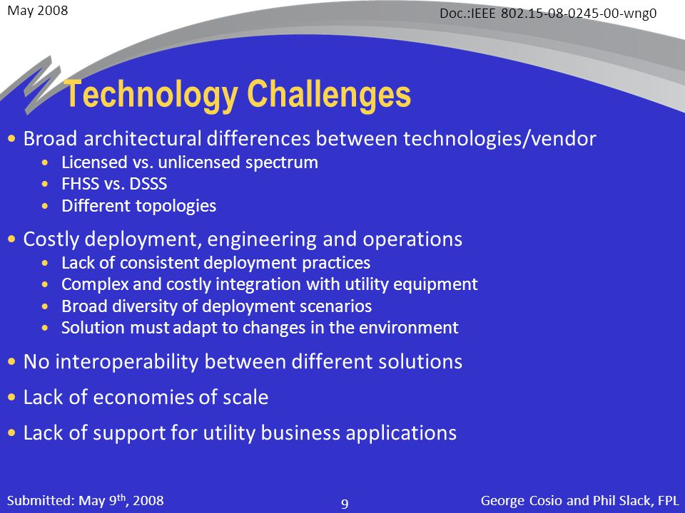 May 2008 Doc.:IEEE 802.15-08-0245-00-wng0 George Cosio and Phil Slack, FPL 9 Submitted: May 9 th, 2008 Technology Challenges Broad architectural diffe