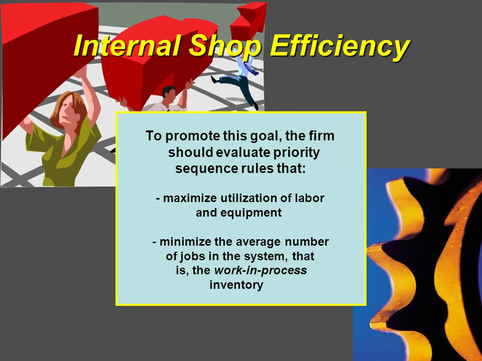 Internal Shop Efficiency To promote this goal, the firm should evaluate priority sequence rules that: - maximize utilization of labor and equipment - minimize the average number of jobs in the system, that is, the work-in-process inventory