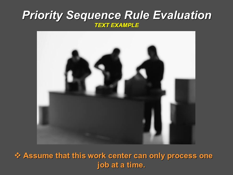 Priority Sequence Rule Evaluation TEXT EXAMPLE  Assume that this work center can only process one job at a time.