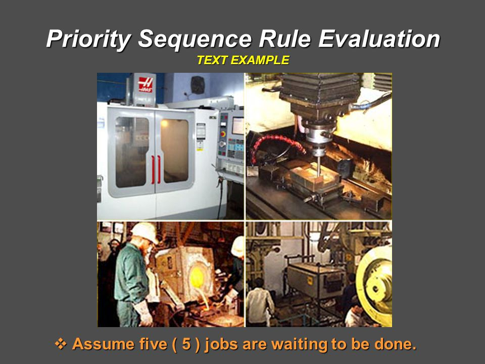 Priority Sequence Rule Evaluation TEXT EXAMPLE  Assume five ( 5 ) jobs are waiting to be done.