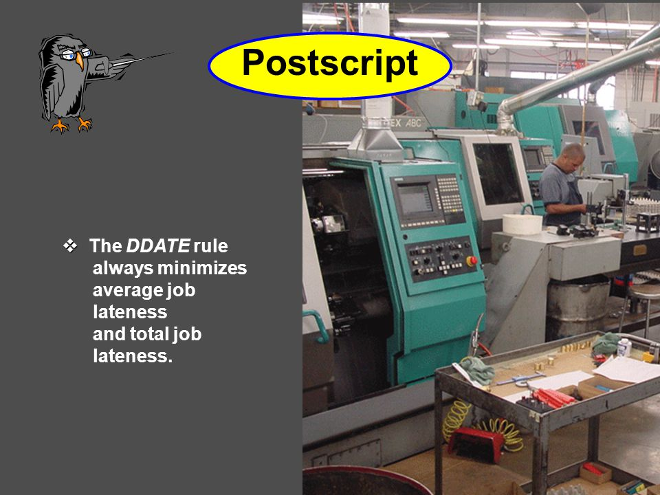 Postscript   The DDATE rule always minimizes average job lateness and total job lateness.