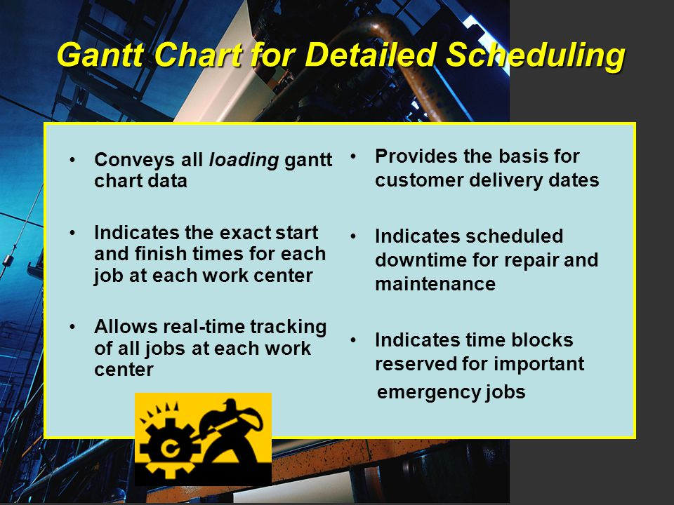 Gantt Chart for Detailed Scheduling Conveys all loading gantt chart data Indicates the exact start and finish times for each job at each work center Allows real-time tracking of all jobs at each work center Provides the basis for customer delivery dates Indicates scheduled downtime for repair and maintenance Indicates time blocks reserved for important emergency jobs