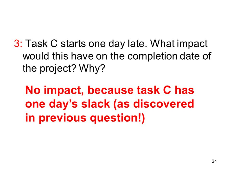 24 3: Task C starts one day late. What impact would this have on the completion date of the project? Why? No impact, because task C has one day's slac