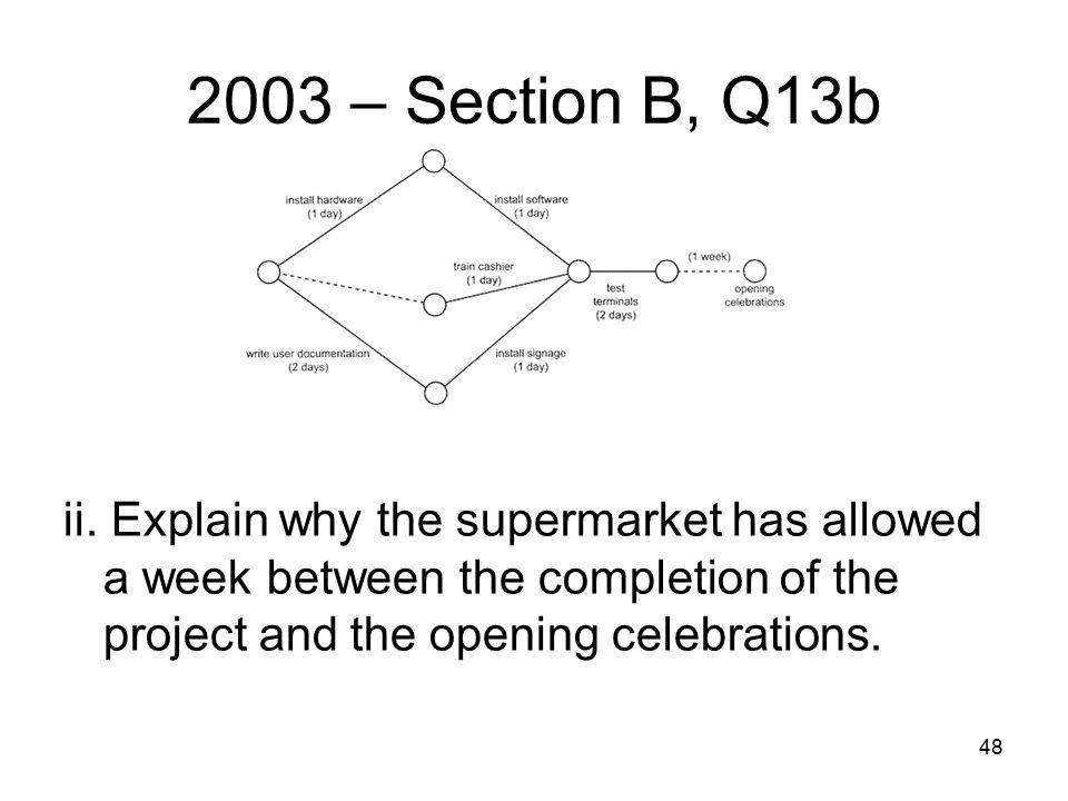 48 2003 – Section B, Q13b ii.