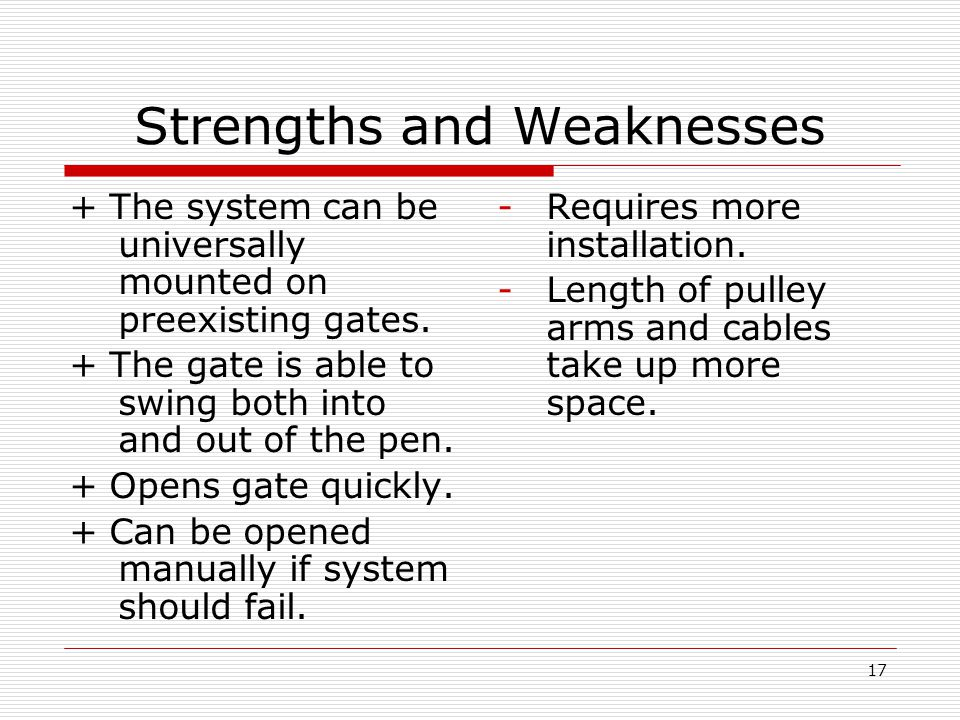 17 Strengths and Weaknesses + The system can be universally mounted on preexisting gates.