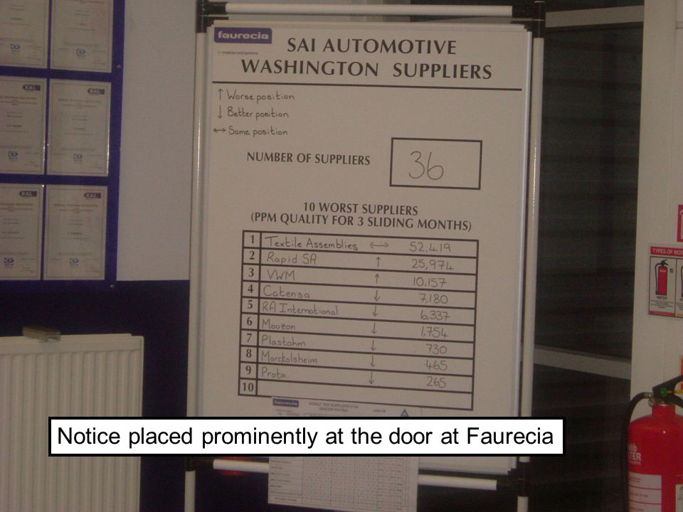 CH/49 © Dr. Christian Hicks Notice placed prominently at the door at Faurecia