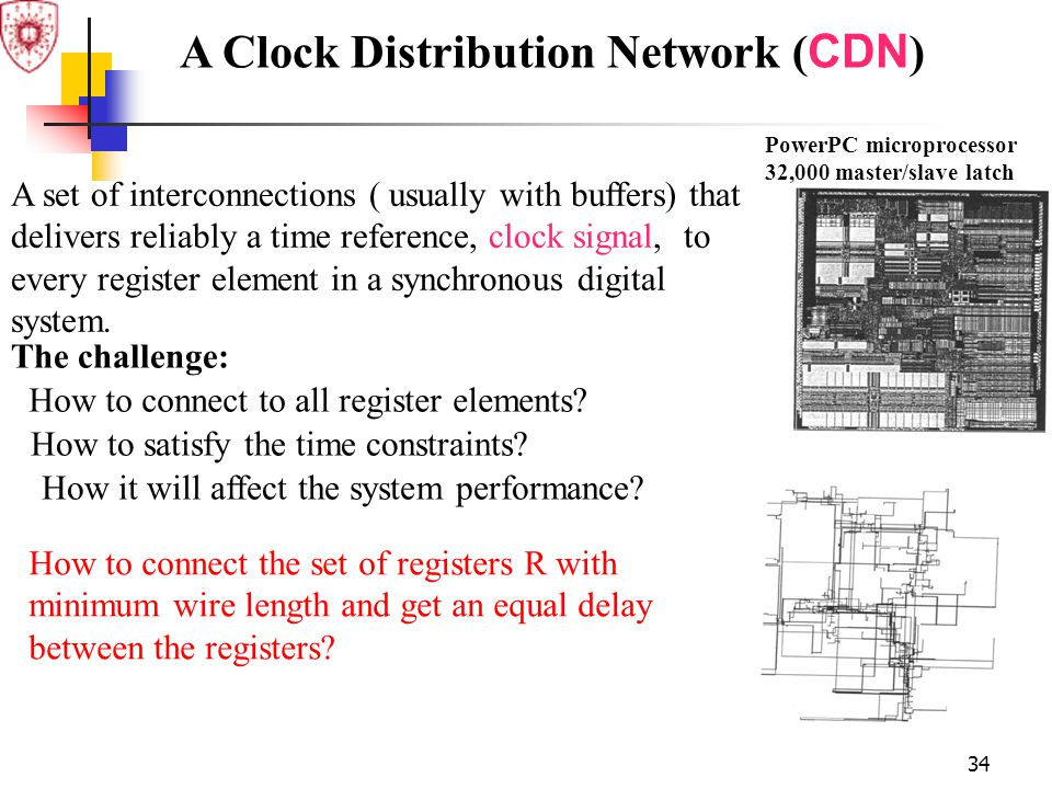 34 PowerPC microprocessor 32,000 master/slave latch A Clock Distribution Network ( CDN ) How to connect the set of registers R with minimum wire lengt
