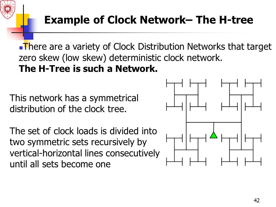 42 There are a variety of Clock Distribution Networks that target zero skew (low skew) deterministic clock network. The H-Tree is such a Network. This