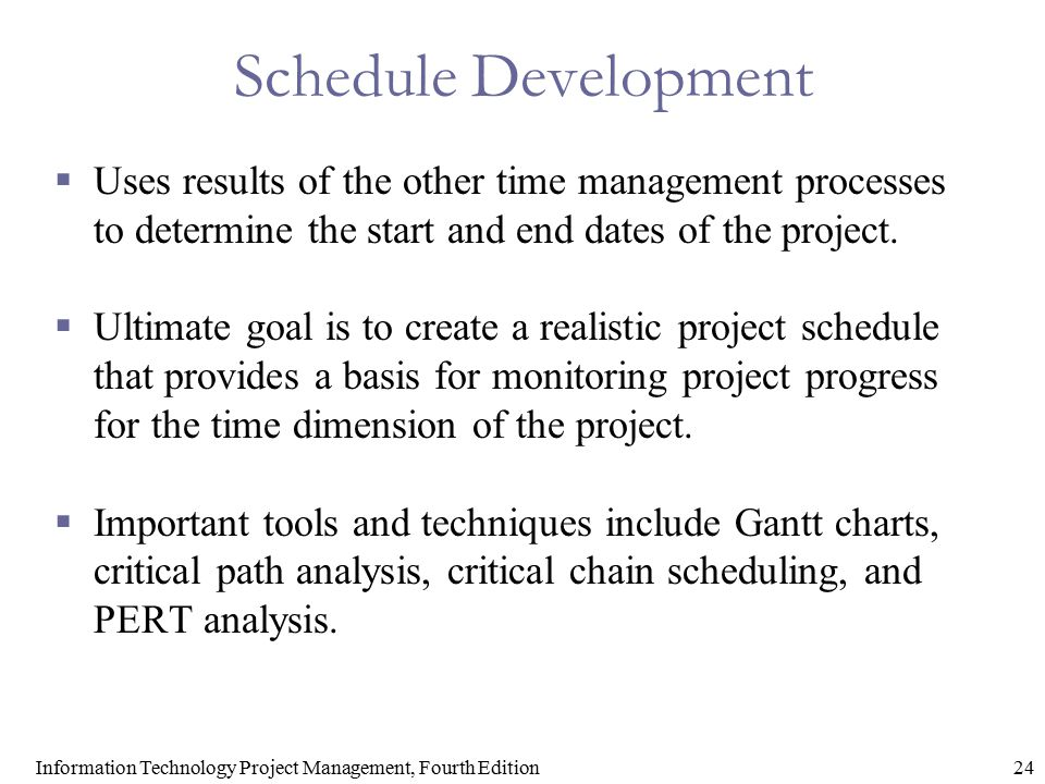 24Information Technology Project Management, Fourth Edition Schedule Development  Uses results of the other time management processes to determine th