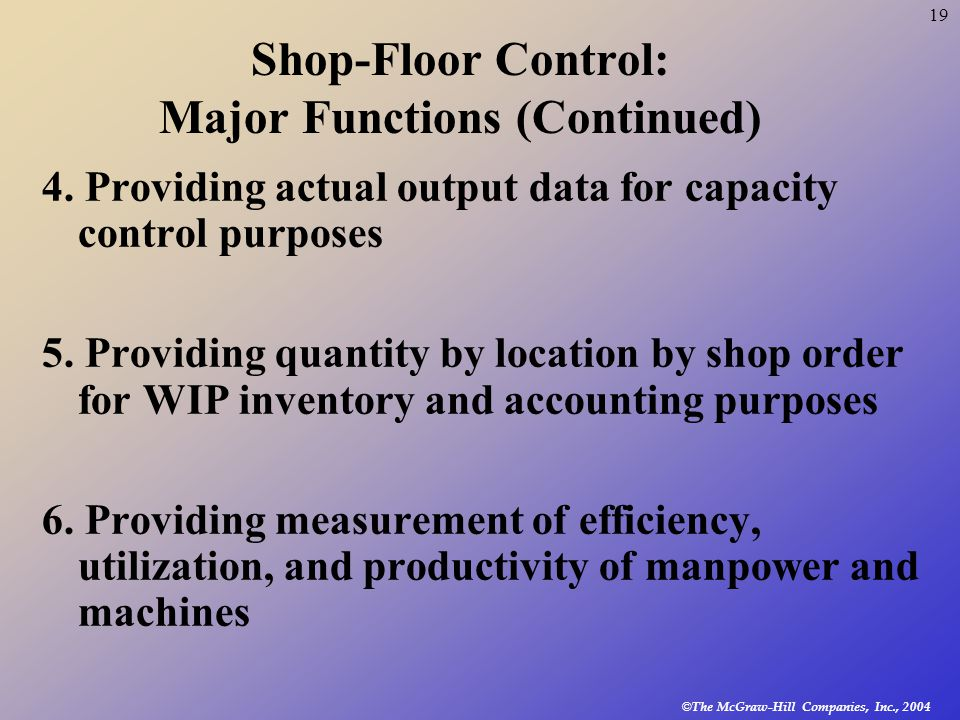 © The McGraw-Hill Companies, Inc., 2004 19 Shop-Floor Control: Major Functions (Continued) 4.